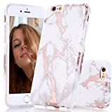 BAISRKE iPhone 6 6s Case, Shiny Rose Gold Marble Design Bumper Matte TPU Soft Rubber Silicone Cover Phone Case for iPhone 6 iPhone 6s 4.7 inch - White