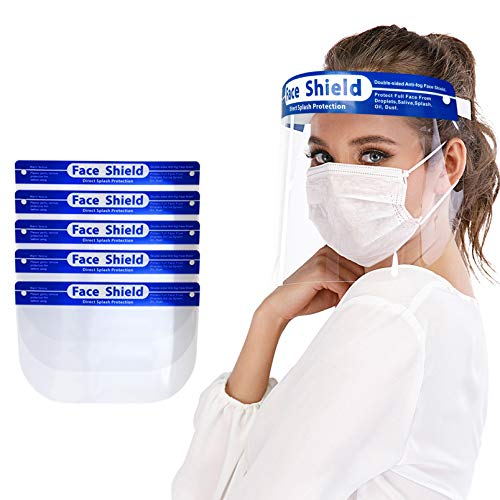 Protective Face Shield 5 Pack, Waterproof Dustproof Full Face Shield with Clear Wide Visor, Reusable Safety Face Shield with Comfortable Sponge and Elastic Band, Vacuum Packaged