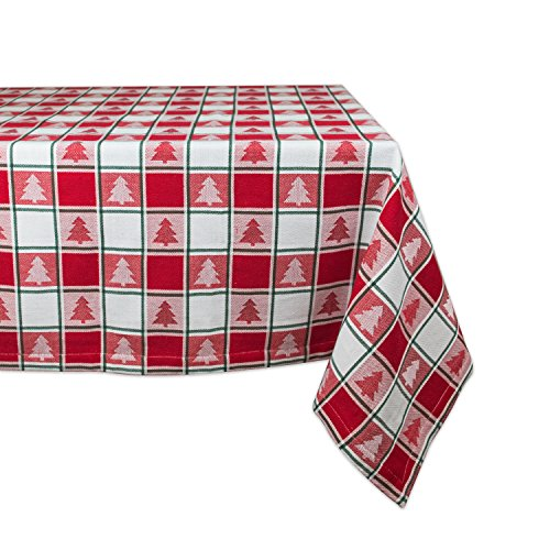 """DII Holiday Trees Square Tablecloth, 100% Cotton with 1/2"""" Hem for Holiday, Family Gatherings, & Christmas Dinner (60x84"""" - Seats 6 to 8)"""