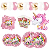 83 Piezas–Vajilla Diseño de Unicornio Desechable para 12-16 Personas Decoraciones de Fiesta de cumpleaños para niñas-Incluye Platos, servilletas, Vasos, Globos y Cinta de Papel
