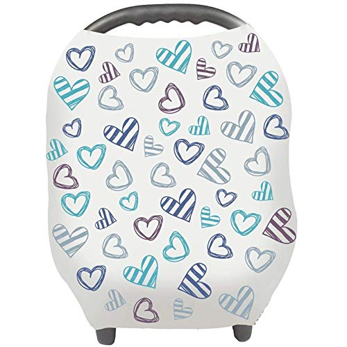Nursing Cover Breastfeeding Scarf - Baby Car Seat Covers, Infant Stroller Cover, Carseat Canopy for Girls and Boys by YOOFOSS (Blue Heart)