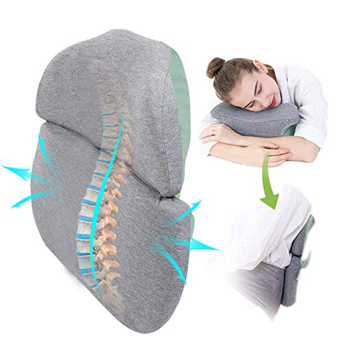 Multifunctional Lumbar Support Pillow/Back Cushion, Memory Foam Back Cushion Pillow for Office, Computer chair, Classroom chair, Foldable & Ergonomic Design for Lower Back, Tailbone Pain Relief