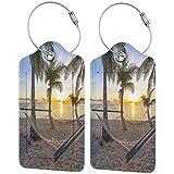 WINCAN Etiquetas para Equipaje,Paradise Beach con hamacas y cocoteros Palm Coast Horizon Scenery Vacation,2 Piezas Etiquetas de Equipaje de Viaje Etiquetas de Identificación de la Maleta