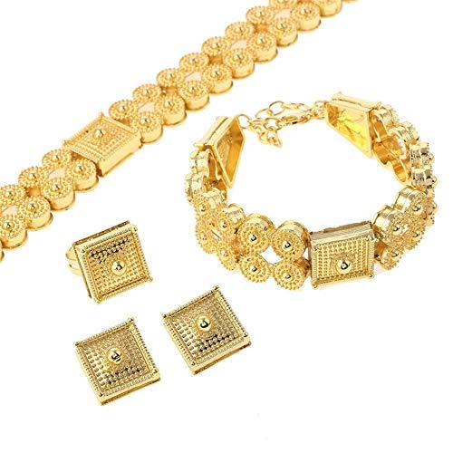 Conjunto de joyería etíope, gargantillas de Color dorado, collar, pulsera, pendientes, anillo para mujer, Eritrea Habesha, africano