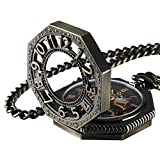 Carrie Hughes Steampunk Vintage Gold Tone Octagon Skeleton Mechanical Pocket Watch with Chain...