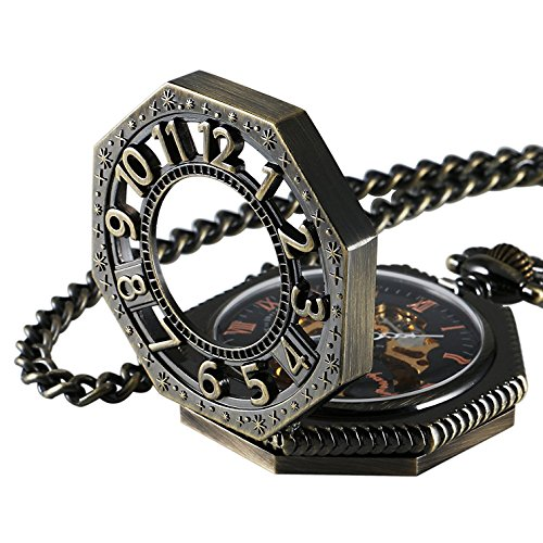 Carrie Hughes Steampunk Vintage Gold Tone Octagon Skeleton Mechanical Pocket Watch with Chain Gifts CHPW02