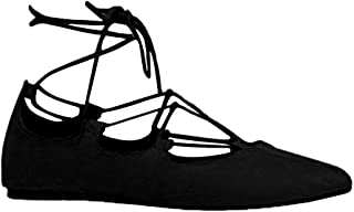Lace Up Pointed Toe Flats - Classic Comfortable Ballet - Cute Strappy Ghillie Shoe - Dancer