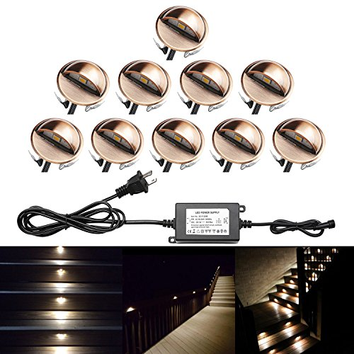 QACA Pack of 10 LED Stair Light Low Voltage Waterproof IP65 Outdoor Φ1.38
