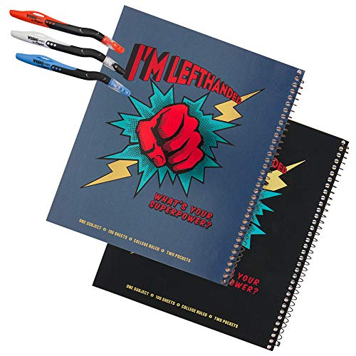 2 Super Power College Metallic Left-Handed Notebook Set Plus 3 Left-Handed Visio Pens, Assorted Colors