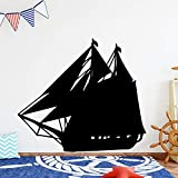 LSMYM Sailboat Home Decorations Pvc Decal Removable Wall Sticker Rooms Home Decoration Yellow L 43cm X 48cm