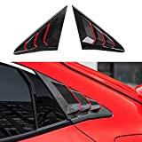 XHQ for Honda Civic Hatchback Rear Window Louver Shutter Cover Trim Fit 10th Gen Civic 2016-2021 Car Side Window Louvers Air Vent Scoop Shades Cover Accessories Decoration(RED Carbon Fibre)