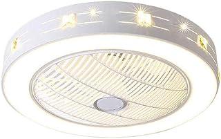 QJUZO Ventilador de Techo con Luz y Mando a Distancia Ventilador Silencioso Lámpara de Techo LED Regulable Moderna Ventilador Invisible Cuarto de Estar Dormitorio Guardería Plafón Fan, 72W, 55cm