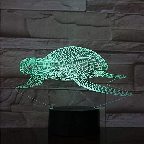 Lámpara de ilusión 3D, luz de noche Led, tortugas marinas, animales, decoración colorida para fiesta de cumpleaños, figuras, lámpara de mesa, juguetes de regalo para chico