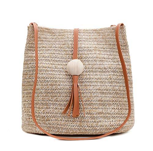 WANGXL dames zomertas van stro, tas voor dames met grote vakken, tas met schouderriem