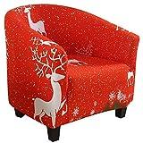 HIFUAR Funda Elástica para Sillón Chesterfield,1 Pieza Moderna Funda de Butaca de Navidad Lavable Cubierta Protector de Mueble Elegante para Chester 1 Plaza,Dormitorio,Recepción,Contador,Rojo