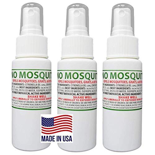 NO MOSQUITOZ | Mosquito, Gnat, and Biting Flies Repellant | Effective Personal Botanical Bug Spray | Hand-Crafted DEET-Free Hypoallergenic | Non-Greasy Formula (3, 2oz.)