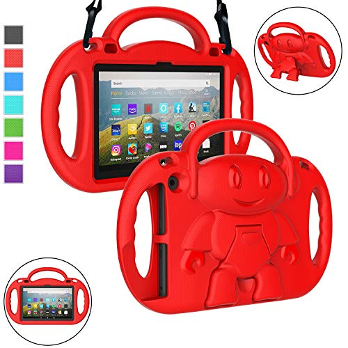 LTROP All-New Fire HD 8 2020 Case, Fire HD 8 Plus Case for Kids - Shock Proof Handle Stand Kids Friendly Child-Proof Cover Case for Fire 8' HD Display Tablet 2020 Release 10th Generation (Red)
