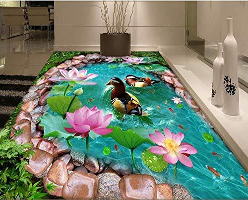 Suelo 3d personalizado papel tapiz autoadhesivo baldosas 3d sala de estar piso de rollo de pvc Pato mandarín lotus foto wallpaper-200x140cm