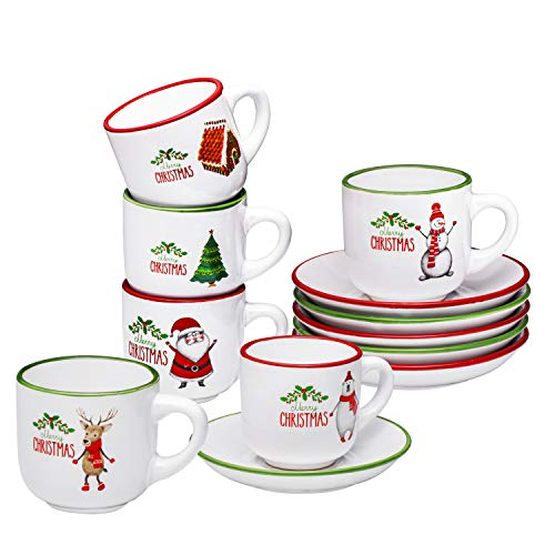 Christmas Theme Espresso Cups with Saucers - 4 ounce Demitasse Cups - Set of 6 Kids Christmas Mugs