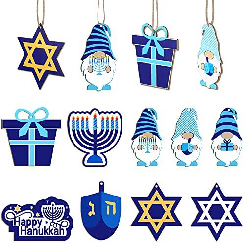 25 Pieces Hanukkah Gnome Ornaments Happy Hanukkah Wood Sign Star of David Menorah Dreidel Hanging Decoration for Hanukkah Party Decoration Home Living Room Wall Decorations