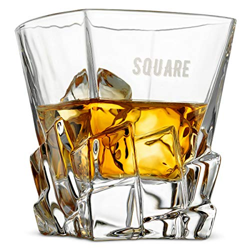 Premium Crystal 11 Oz. Whisky Glasses Set of 2 | FunSquare Deal Theme Makes Prime Mens Corporate Gift Idea for Christmas Holiday | For Whiskey, Tequila, Vodka, Rum | Dishwasher Safe -Double Dram