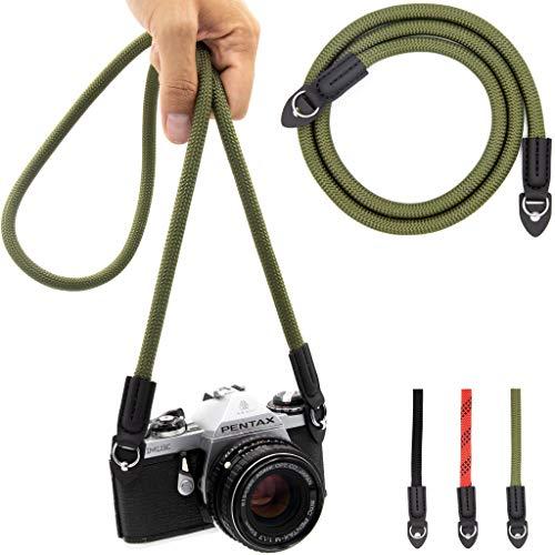 Lens-Aid Kameragurt aus Seil: Nacken- BZW. Schultergurt geeignet für Kameras von Canon, Nikon, Sony, Fujifilm, Olympus, Leica etc. (grün)