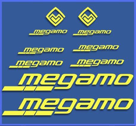 Ecoshirt K7-FRYS-6CP2 Pegatinas Megamo Fram Dr1117 Vinilo Adesivi Decal Aufkleber Клей MTB Stickers Bike, Amarillo