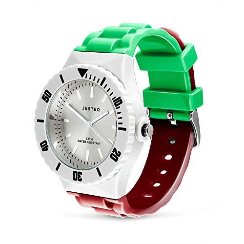 Jester Armbanduhr mit italienischer Flagge, sechs Nationen, Farben von Italien, für Erwachsene, Unisex, Sportuhr