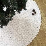 Reiner weißer Weihnachtsbaumrock mit weißen Pailletten, 121,9 cm, Plüsch-Weihnachtsbaum-Rock mit Kunstfell-Bordüre für Neujahr, Erntedankfest, Heim-Party-Dekoration (weiß, 121,9 cm)