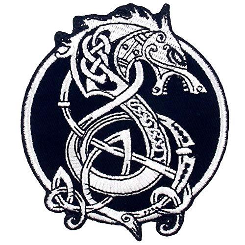 Aufnäher, bestickt, Design: Vikings Berserk Der nordische Monsterwolf der nordischen Mythologie, zum Aufbügeln oder Aufnähen