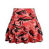 Shaoyao Moda Faldas Elástica Plisada Cintura Alta Falda con Volantes Corto Camuflaje Rojo M