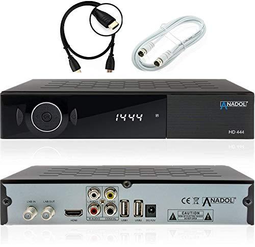 Anadol ADX HD 444 HDTV digitaler Sat-Receiver (HDTV, DVB-S/S2, HDMI, 2X USB 2.0, FullHD 1080p, YouTube) [vorprogrammiert für Astra Hotbird Türksat ] inkl. HDMI Kabel + Satkabel 2m, schwarz