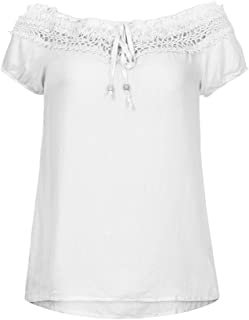 Women Solid Lace Off Shoulder Tie Short Sleeve Cotton Blouse Tops T-Shirt