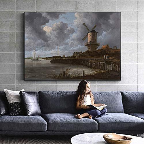 Muurschildering Hollandse molen in de gouden eeuw van landelijke muurschilderingen landschap canvas foto frameloze schilderij 60X90CM
