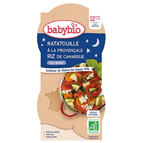 Babybio - Bonne Nuit - Bols Ratatouille a la Provençale Riz 2x200 g - 12+ Mois - BIO - Lot de 3