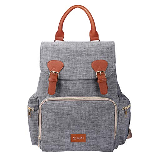 Diaper Bag Backpack,Stylish Multifunction Diaper Backpack Maternity Baby Nappy Changing Bags for Mom,Dad with Baby Care,Large Capacity,Waterproof and Stroller Straps(Gray)