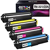 RETCH Compatible Toner Cartridge Replacement for Brother TN221 TN225, Use with HL-3140CW HL-3170CDW HL-3180 MFC-9130CW MFC-9330CDW MFC-9340CDW Printer (1 Black | 1 Cyan | 1 Yellow | 1 Magenta) 4 Pack