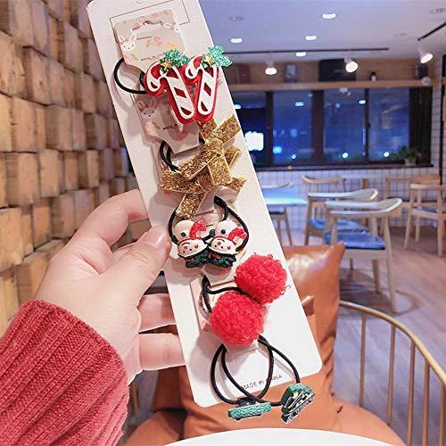 AOXQ Los niños horquillas de las niñas cuerdas de pelo de los niños niñas accesorios para el pelo del bebé clips de pelo cuerdas de Navidad lindo gorro-7