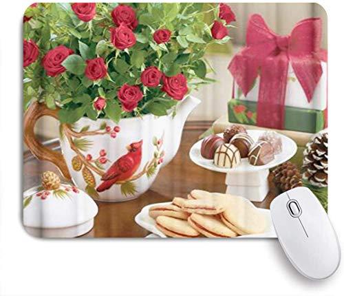 Benutzerdefiniertes Büro Mauspad,Weihnachtskardinal Tannenzapfenplätzchen Schokoladenblumen Teekanne,Anti-slip Rubber Base Gaming Mouse Pad Mat
