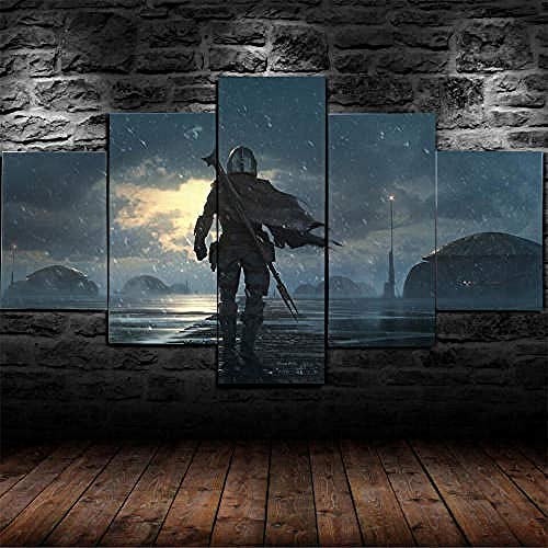 QMCVCDD 5 Piece Modern Hd Stretched And Framed Canvas Star Wars The Mandalorian Bounty Hunter (2) Wall Art Paintings Ready To Hang For Living Room Bedroom Home Decorations