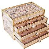 YFQHDD Caja de almacenamiento de joyería de cuatro capas hecha de material de vidrio adecuado para todo tipo de joyas