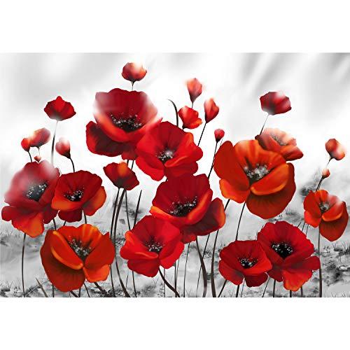 decomonkey Fototapete Mohnblumen 350x256 cm XL Tapete Fototapeten Vlies Tapeten Vliestapete Wandtapete moderne Wandbild Wand Schlafzimmer Wohnzimmer Blumem Abstrakt rot
