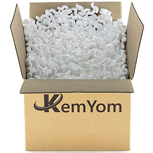 KemYom - Relleno de Poliestireno Expandido para Cajas Cartón Embalajes – Material de Espuma EPS para Protección en Mudanzas Envíos – Excelente Acolchado contra Golpes, choques -Tipo Gusano (75 Litros)