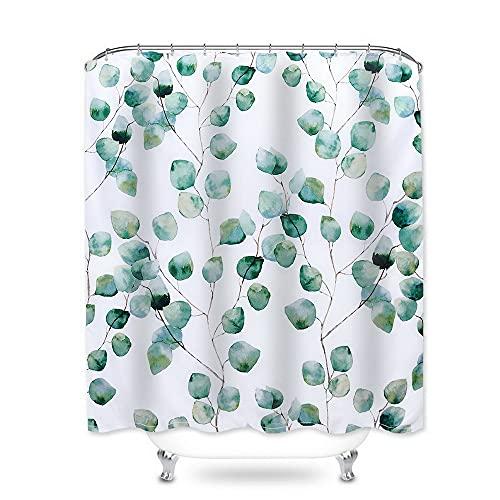 NIBESSER Duschvorhang 180x200 blätter Textil antischimmel Wasserabweisend Shower Curtain mit 12 Duschvorhangringen 3D Digitaldruck Grüne Pflanzen