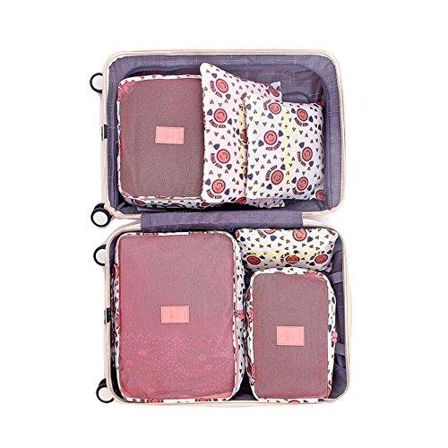 Rojeam Organizer per Valigia 6 Pezzi Organizzatori di Viaggio Cubo Borse di Stoccaggio Abbigliamento Calzature Organizzatori Sacchi (Sorriso Rosa)