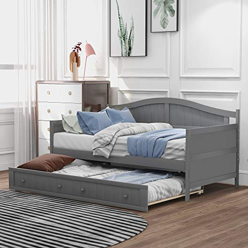 Twin Wooden Daybed with Trundle Bed, Rockjame Sofa Bed for Bedroom Living Room, No Box Spring Required (Gray)