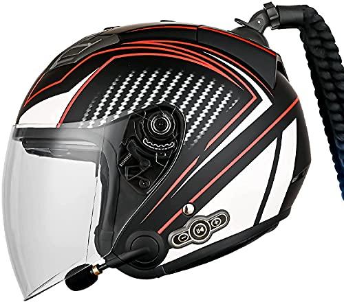 OOMEI Medio Abierto Casco De Moto con Bluetooth Integrado,ECE Homologado Casco Moto Jet Scooter para Mujer Hombre Adultos,con Un Micrófono Incorporado Doble Visera (Color : I, Size : L=59-60CM)