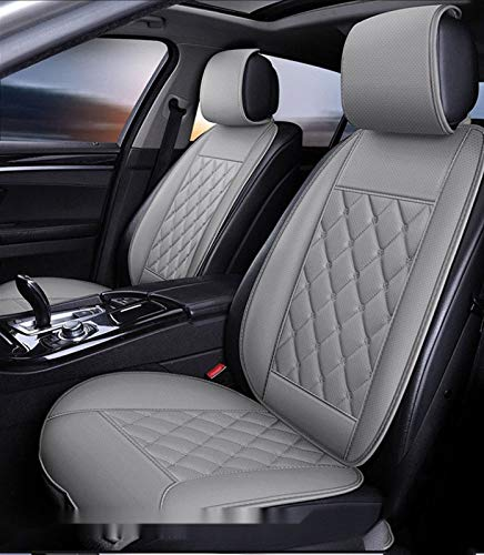 Car Seat Covers,Universal Waterproof with Storage Bag Faux Leatherette Automotive Vehicle Cushion Cover(Gray) (Color : Beige, Size : 5 sit)