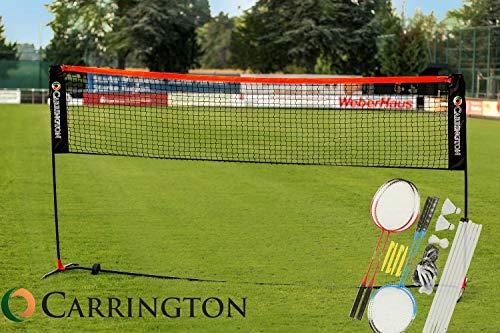 Badmintonnetz/Volleyballnetz 3m - 4 x Schläger, 2 x Federbälle und Transporttasche - WETTERFEST und höhenverstellbar - Perfekt geeignet als Badmintonnetz/Volleyballnetz für Garten, Hof oder Park