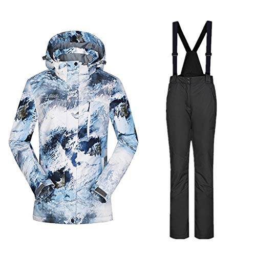 JSYDTX Skianzug Frauen Winterjacke Frauen wasserdichte Bunte Snowboard und Latzhose weiblich Skifahren Sport Snowboarding (Farbe : Black Set, Size : XXXL)